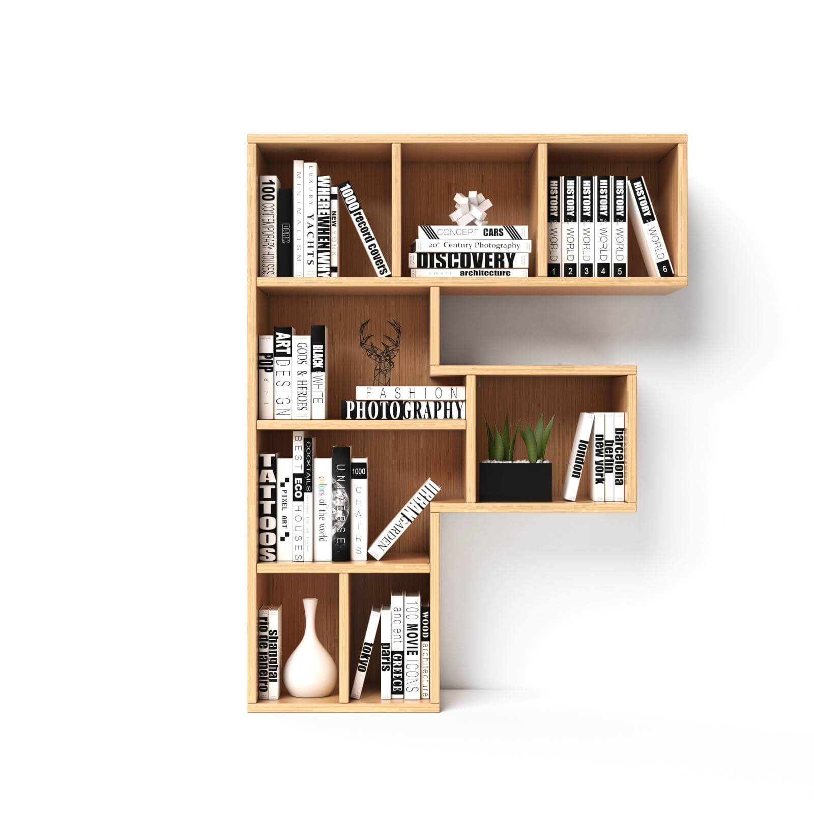 Bookshelves 3d font. Alphabet in the form of book shelves. Mockup font. Letter F 3d rendering