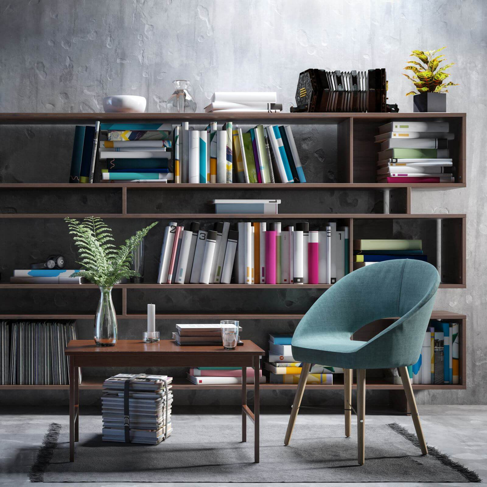Furnishing Presentation with a Bookshelf - 3d visualization